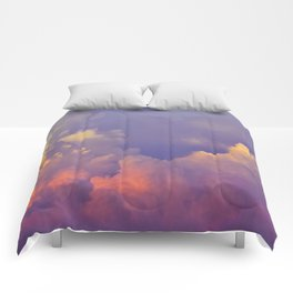Purple Pastel Clouds Fluffy Cotton Candy Whimsical Fairytale Sky Comforters