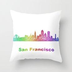 Rainbow San Francisco skyline Throw Pillow