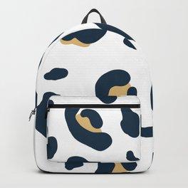 Navy Tan Leopard Pattern - Large Print Backpack