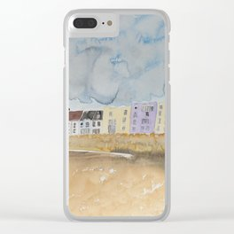 Seaside Apartments Under A Cloudy Sky Clear iPhone Case