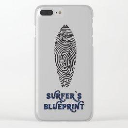 Surfer's Blueprint Ride Waves T-Shirt Clear iPhone Case