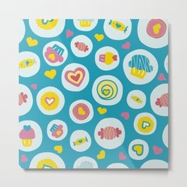 Blue circles sweet love  Metal Print
