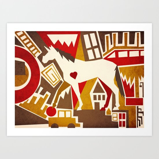 Abstract Pattern Unicorn Art Print