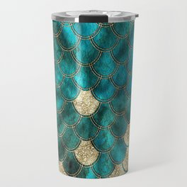 Multicolor Aqua And Gold Mermaid Scales -  Beautiful Abstract Pattern Travel Mug