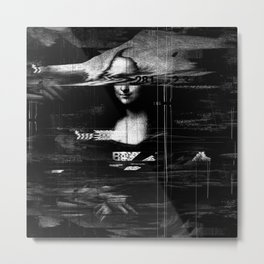 Mona Lisa Glitch Metal Print