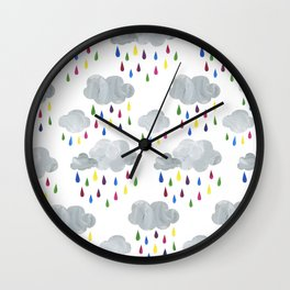 Rainbow Rain Clouds Wall Clock