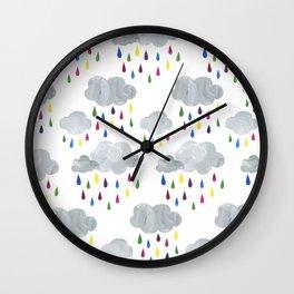 Rainbow Rain Clouds Wall Clock