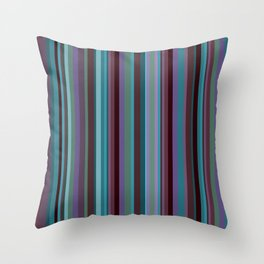 Retro Stripe in Blueberries and Orchids Throw Pillow