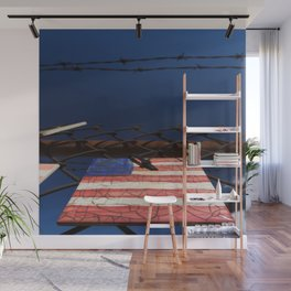 have you got a flag ? usa clock Wall Mural
