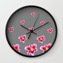 STRAWBERRY COLORED ASIAN LILIES GREY ART Wall Clock