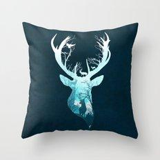 Deer Blue Winter Throw Pillow