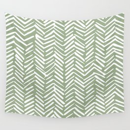 Boho Herringbone Pattern, Sage Green and White Wall Tapestry