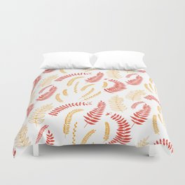 Leaves pattern in red and yellow Duvet Cover