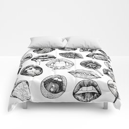 Hand Drawn Luscious Lips in Black and White Comforters