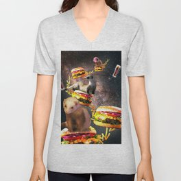 Galaxy Ferret On Burger - Space Cheeseburger Ferrets Unisex V-Neck