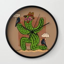 Cactus Lady and Friends Wall Clock