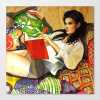 reading Canvas Prints featuring Reading by Madelyne Joan Templeton