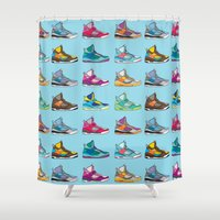 sneaker Shower Curtains featuring Colorful Sneaker set illustration No 2 by MiartDesignCreation