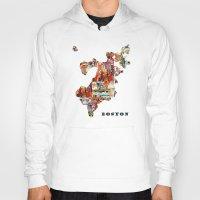 boston Hoodies featuring boston map by bri.buckley