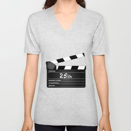 25th Year Clapperboard Unisex V-Neck