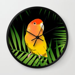 Lovebird Parrots in Green Palm Leaves on Black Wall Clock