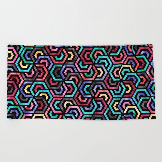 Seamless Colorful Geometric Pattern XXV Beach Towel