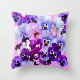 SPRING COLLECTION PURPLE-PINK PANSIES Throw Pillow