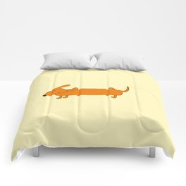 Cute pissing dachshund Comforters
