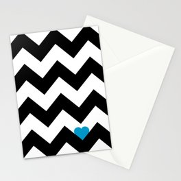 Heart & Chevron - Black/Blue Stationery Cards