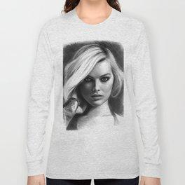 Margot Robbie Pencil Sketch Long Sleeve T-shirt