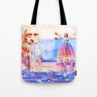 leonardo Tote Bags featuring Code Leonardo  by Joe Ganech