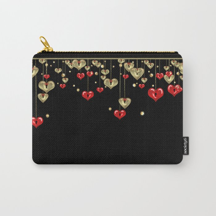 Beautiful glitter shine hearts on black Valentines Day greeting Carry-All Pouch