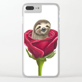 Sloth in a Rose Clear iPhone Case