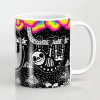 sloths Mugs featuring Sloths, Pyramids, Skulls, Rainbow Clouds by Heiko Windisch