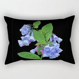 Spring Bluebells on black Rectangular Pillow