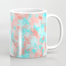 Artsy Modern Summer Coral Orange Aqua Abstract Coffee Mug
