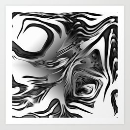 Silver Ink Abstract Design Art Print