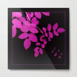 Uber Bright Pink Leaves on Black Metal Print