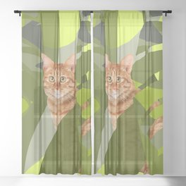 Tropical Jungle with red tiger cat Sheer Curtain