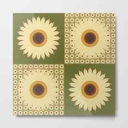 Sunflower Fields Green Pattern Metal Print