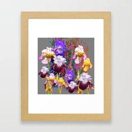 Decorative Spring Grey Iris Yellow & Pink Garden Framed Art Print