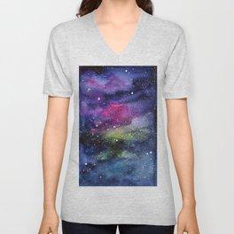 Galaxy Watercolor Night Sky Painting Nebula Art Unisex V-Neck