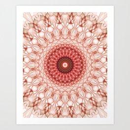 Delicate red web mandala Art Print