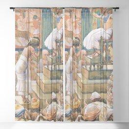 12,000pixel-500dpi - James Tissot - Joseph and His Brethren Welcomed by Pharaoh - Digital Remaster Sheer Curtain
