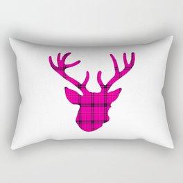 Plaid Deer Head: Pink Rectangular Pillow