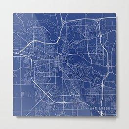 Ann Arbor Map, USA - Blue Metal Print