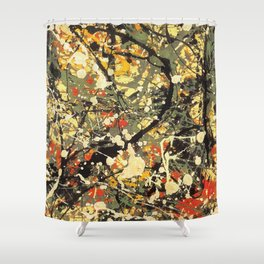 Jackson Pollock, digitally vectorised and filtered, fine art decor and clothing Shower Curtain