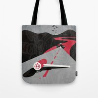 sons of anarchy Tote Bags featuring Sons Of Anarchy Print by Take Heed