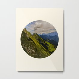 Green Musical Mountains Round Photo Frame Metal Print