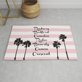Beverly Hills Street Names Palm Trees Pink Stripes Rug